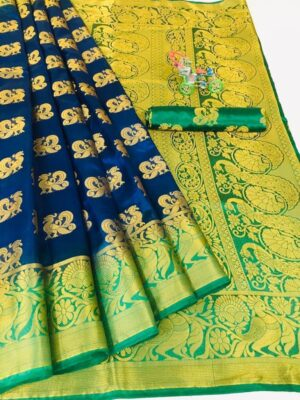 Alluring Dark Blue Color Function Wear Contrast Pallu Nylon Silk Weaving Jacquard Saree Blouse