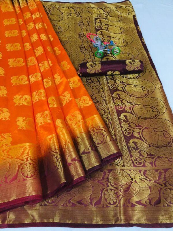 Exquisite Orange Color Party Wear Nylon Silk Contrast Pallu Weaving Jacquard Saree Blouse