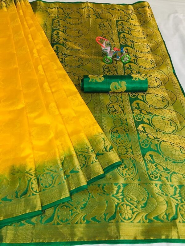Gorgeous Yellow Color Wedding Wear Nylon Silk Jacquard Weaving Contrast Pallu Saree Blouse
