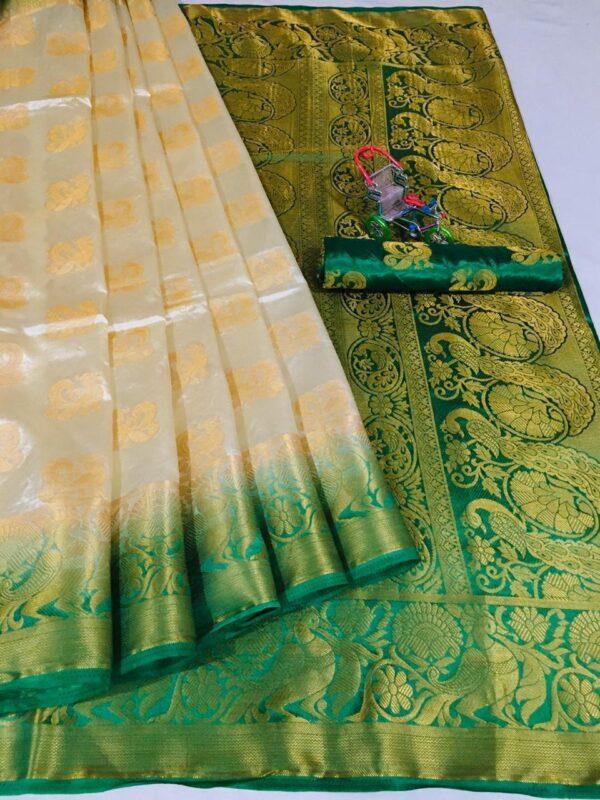 Amazeballs Off White Color Wear Nylon Silk Designer Jacquard Weaving Contrast Pallu Saree Blouse