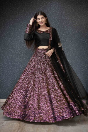 Beauteous Wine Color Party Wear Velvet Designer Sequence Work Lehenga Choli