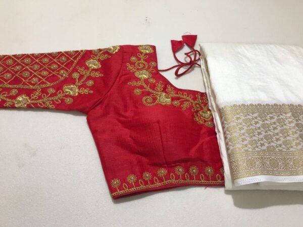 Extraordinary Red Color Fancy Silk Nylon Chit Pallu Weaving Border Saree Ready Made Blouse
