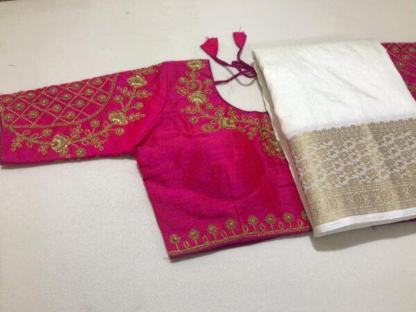 Staggering Rani Pink Color Designer Party Wear Nylon Silk Chit Pallu Weaving Border Saree Ready Made Blouse