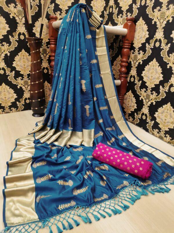 Impressive Blue Color Designer Jalar Foil Golden Work Soft Silk Two Tone Saree Blouse