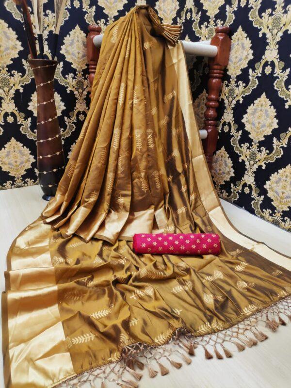 Astonishing Mustard Color Fancy Foil Work Jalar Two Tone Silk Designer Saree Blouse