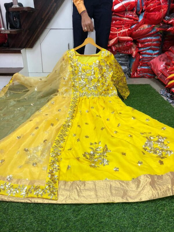 Marvellous Yellow Color Full Stitched Banglori Satin Sequence Embroidered Dupatta With Gown