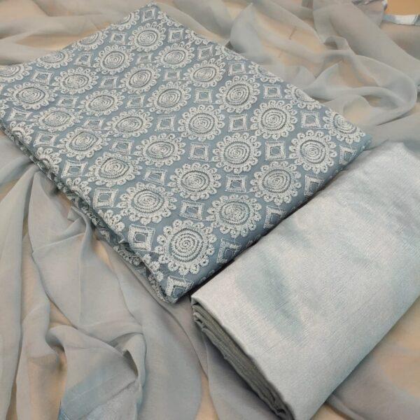 Fabulous Grey Color Party Wear Designer Schiffli Work Fancy Faux Georgette Salwar Kameez
