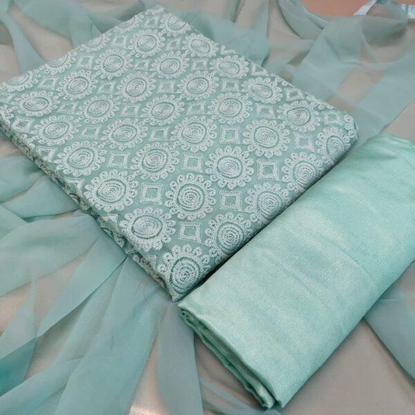 Fab Super Light Blue Color Designer Faux Georgette Schiffli Work Salwar Kameez