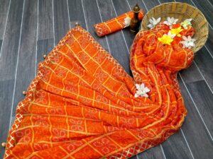 Fantastic Orange Color Wear Gotta Patti Lace Border Chex Printed Designer Georgette Bandhani Saree Blouse