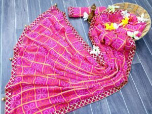 Tremendous Pink Color Wedding Wear Georgette Bandhani Chex Printed Fancy Gotta Patti Lace Border Saree Blouse