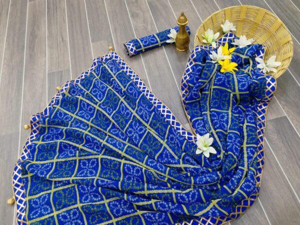 Wondrous Blue Color Designer Chex Printed Georgette Bandhani Gotta Patti Lace Border Saree Blouse