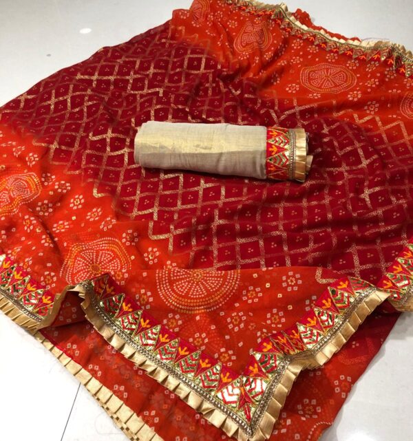 Beautiful Orange Color Wedding Wear Georgette Bandhani Gotta Patti Work Frill Border Designer Saree Blouse