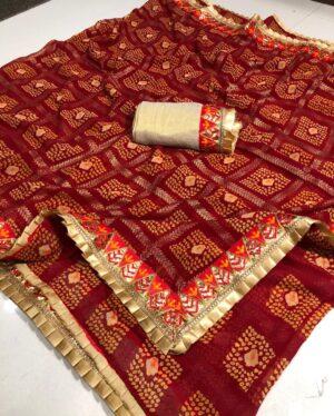 Attractive Maroon Color Wear Gotta Patti Frill Work Border Designer Bandhani Georgette Saree Blouse