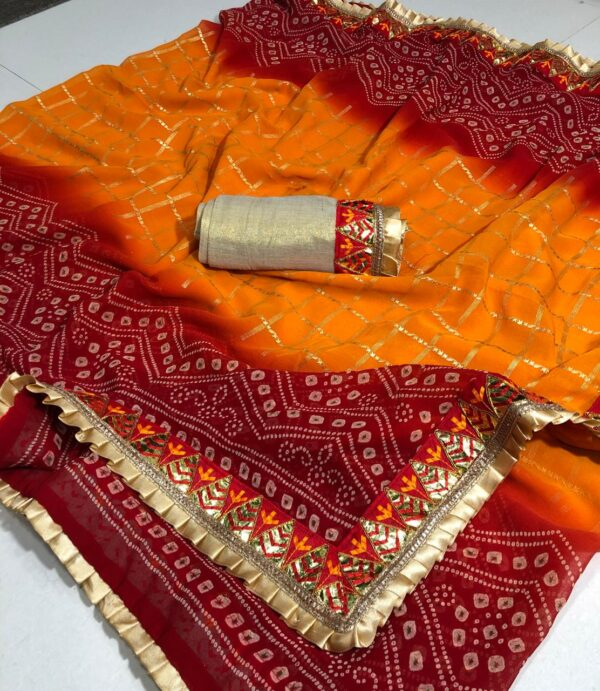 Lovely Mustard Color Function Wear Bandhani Georgette Frill Gotta Patti Work Border Saree Blouse