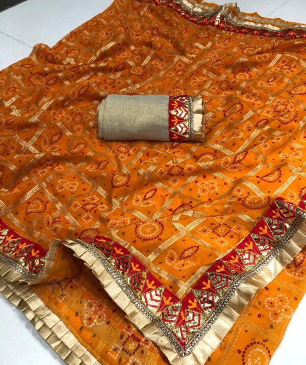 Good-Looking Mustard Color Gotta Patti Frill Work Border Designer Bandhani Georgette Wedding Wear Saree Blouse