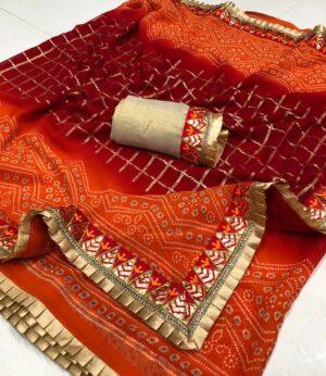Comely Orange Color Party Wear Georgette Bandhani Gotta Patti Frill Work border Saree Blouse