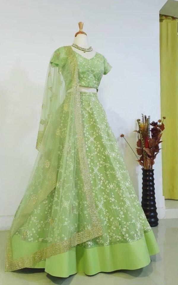 Sensational Light Green Color Soft Heavy Net Designer Embroidered Thread Work Wedding Wear Lehenga Choli