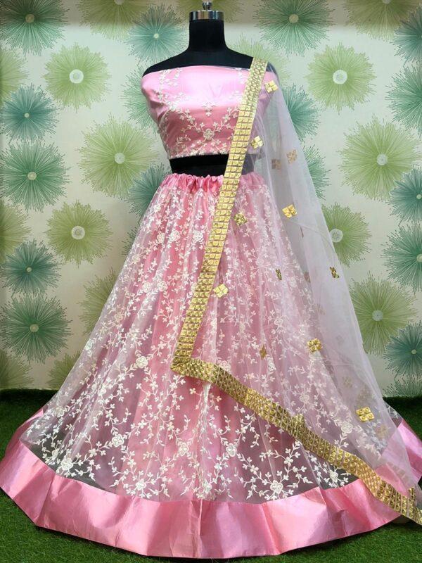 Radiant Light Pink Color Function Wear Soft Net Thread Designer Embroidered Lehenga Choli