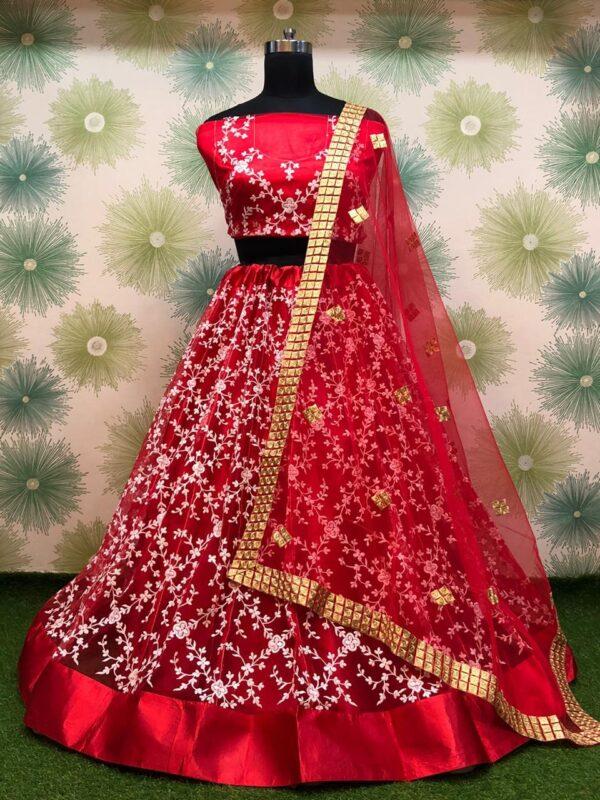 Fantastic Red Color Wedding Wear Designer Embroidered Thread Fancy Heavy Net Lehenga Choli