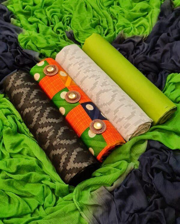 Wondrous Multi Color Designer Wear Camric Printed Fancy 3 Top Katli Lakda Salwar Kameez