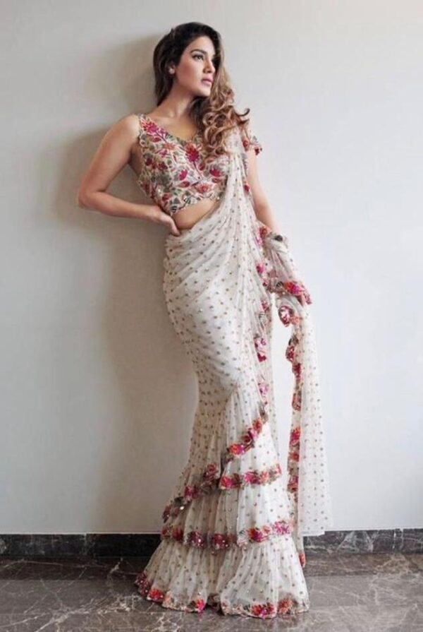 Striking White Color Wedding Wear Georgette Ruffle Sequence Full Work Saree Blouse