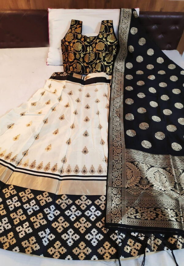 Dazzling Black Color Designer Banarasi Silk Brocade Lehenga Choli