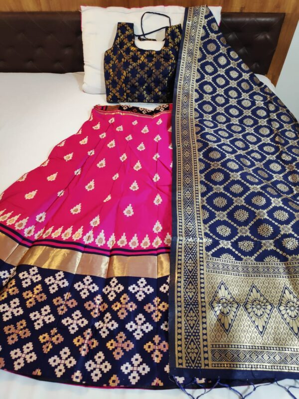 Glorious Flaunt Navy Blue Color Designer Silk Brocade Banarasi Lehenga Choli