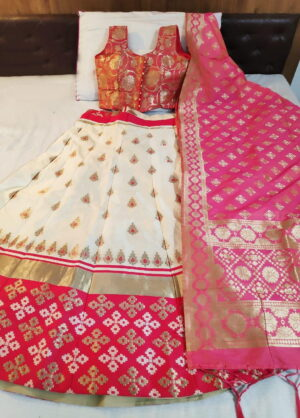 Captivating Light Pink Color Designer Wedding Wear Brocade Banarasi Silk Lehenga Choli