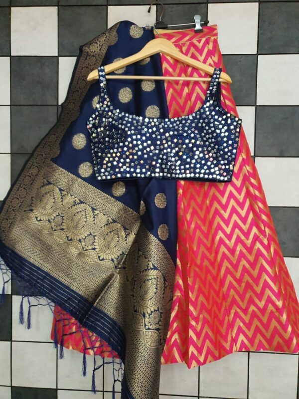 Exquisite Navy Blue Semi Stitched Banarasi Silk Lining Designer Jacquard Lehenga Choli