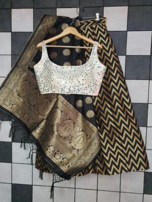 Amazeballs White Color Designer Party Wear Banarasi Silk Lining Fancy Jacquard Lehenga Choli