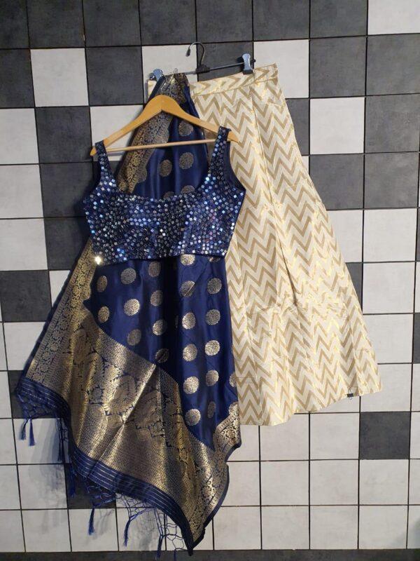 Knockout Navy Blue Color Lining Silk Jacquard Banarasi Wedding Wear Lehenga Choli
