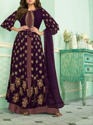 Beauteous Wine Color Function Wear Stone Embroidered Designer Faux Georgette Koti Plazo Salwar Kameez