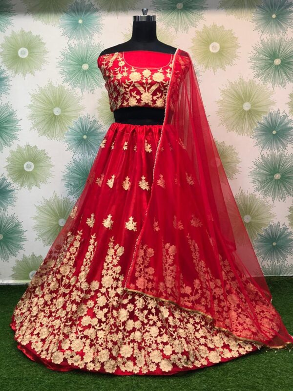 Comely Red Color Fancy Embroidered Designer Soft Net Wear Lehenga Choli