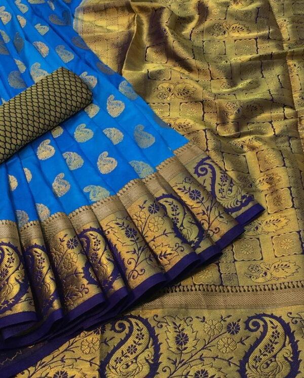 Radiant Sky Blue Color Designer Nylon Silk Dying Material Rich Pallu Saree Blouse