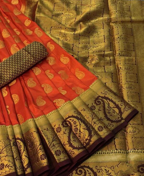 Striking Orange Color Nylon Silk Dying Material Rich Pallu Wedding Wear Saree Blouse