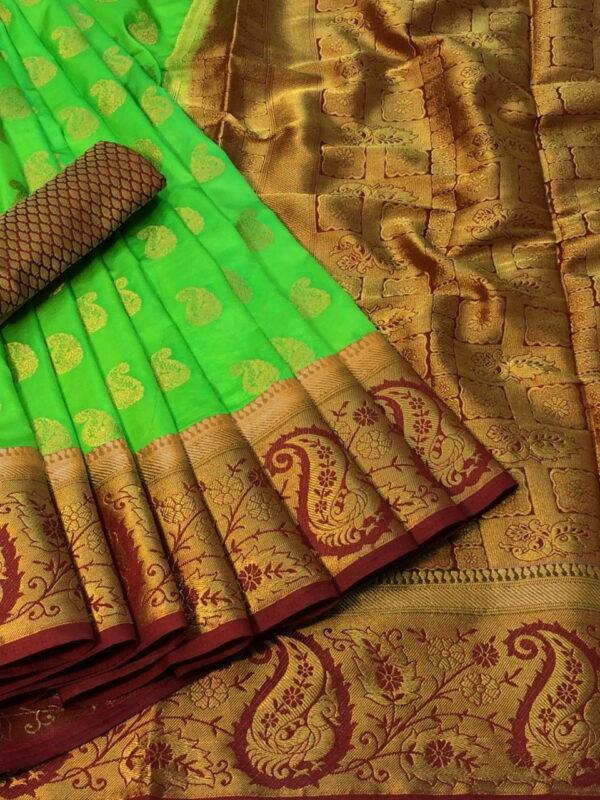 Dazzling Light Green Color Designer Dying Material Rich Pallu Nylon Silk Saree Blouse