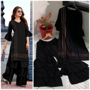 Alluring Black Color Designer Rayon Fancy Gotta Patti Full Stitched Plazo Kurti Set