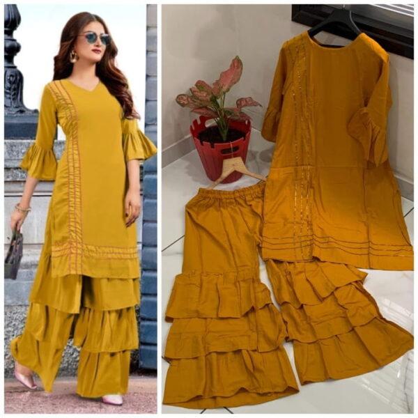 Exquisite Mustard Color Ready Made Wear Rayon Designer Gotta Patti Rayon Plazo Kurti Set