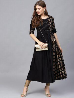 Amazeballs Black Color Full Stitched Rayon Designer Golden Printed With Hand Work Dori Latkan Wear Gown