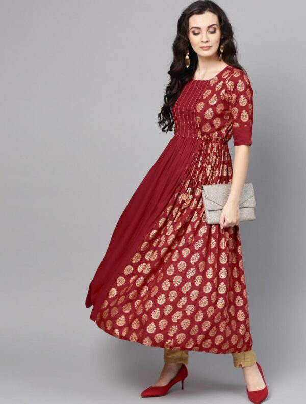 Smashing Maroon Color Full Stitched Fancy Heavy Rayon Hand Work Golden Printed Dori Latkan Party Wear Gown