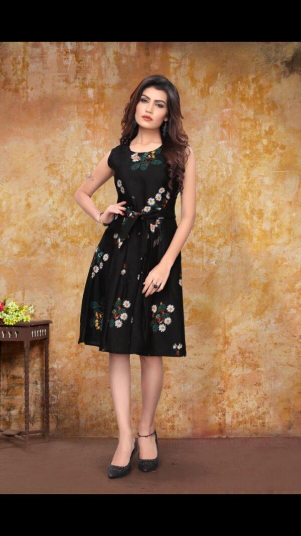 Extraordinary Black Color Party Wear Ready Made Heavy Crape Digital Printed Fancy Western Wear Gown