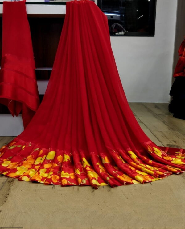 Mind-Boggling Red Color Fancy Flower Printed Patta Satin Silk Wedding Wear Saree Blouse