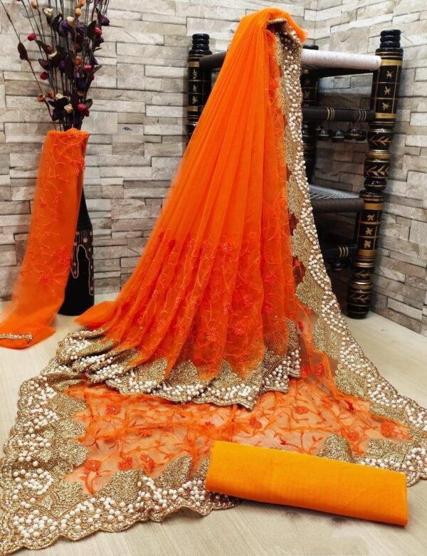 Fab Super Orange Color Wear Multi Zari Embroidered Diamond Work Soft Net Saree Blouse