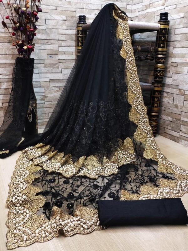 Super Black Color Designer Soft Net Diamond Multi Zari Embroidered Party Wear Saree Blouse