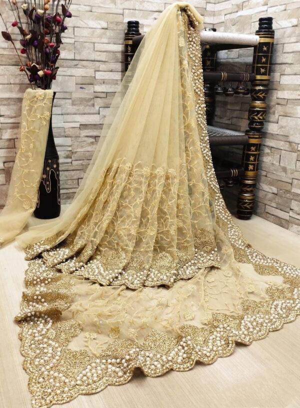 Wondrous Cream Color Soft Net Designer Diamond Embroidered Multi Zari Work Saree Blouse