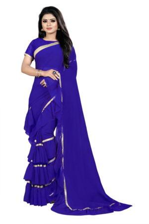 Adorable Violet Color Function Wear Georgette Ruffle Border Saree Blouse For Ladies