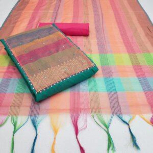 Adorable Rama Color Designer Slub Cotton Fancy Work Salwar Suit For Party Wear