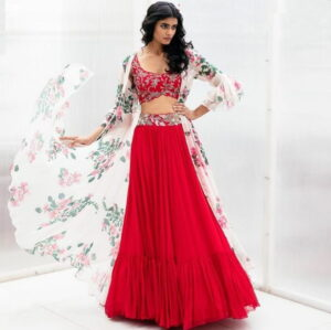 Prodigious Red Color Designer Georgette Embroidered Work Indo Western Lehenga Choli For Wedding Wear