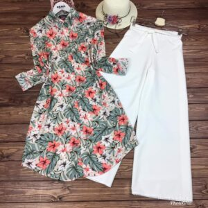 Admiring Peach Color Flower Printed Flex Cotton Ready Made Plazo Kurti For Festive Wear