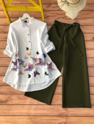 Adorable Wear Mehendi Green Color Printed Rayon Cotton Fancy Full Stitched Plazo Kurti For Ladies
